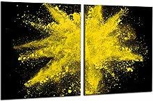 decorwelt   Hob Cover Abstract Yellow Ceramic Hob