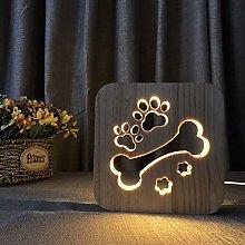 Deeabo 3D Wooden Night Light, Dog Paw Animal Night