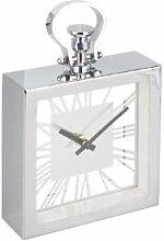 DEENZ Chrome Silver Metal Clock Elegant Roman