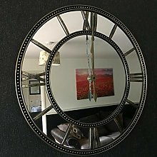DEENZ Large Round Mirror Beaded Wall Clock Vintage