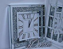 Deenz Large Square Crushed Jewel Mirror Wall Clock