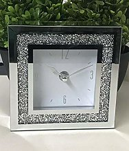 DEENZ Small Square Crystal Clock Crushed Diamante