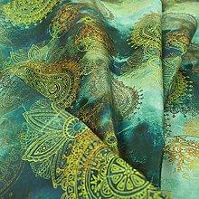 Deep Blue Ocean Green Yellow Circular Pattern