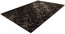 Deep-Pile Bedroom Rug Soft Fluffy Plain Black Gold