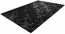 Deep-Pile Bedroom Rug Soft Plain Black Silver 200