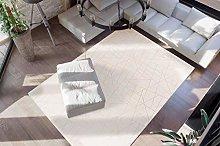 Deep-Pile Carpet Cream Gold Bedroom Soft Fluffy Plain Colour 80 x 150 cm