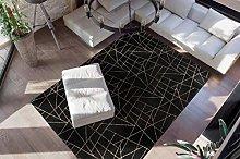 Deep-Pile Rug Black Gold Bedroom Soft Fluffy Plain