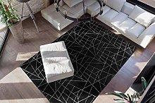 Deep-Pile Rug Black Silver Bedroom Soft Plain 160