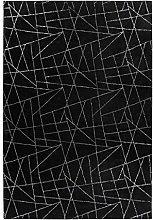 Deep-Pile Rug Black Silver Bedroom Soft Plain 80 x