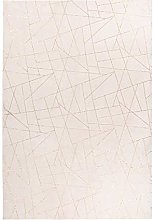 Deep-Pile Rug Cream Gold Bedroom Soft Fluffy Plain