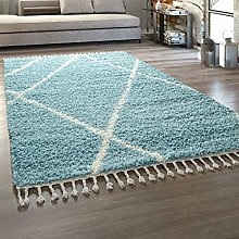 Deep-Pile Rug Living Room Turquoise Pastel Colours