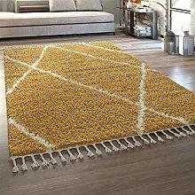 Deep-Pile Rug Yellow Living Room Fringed Shaggy