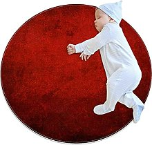 Deep red, Printed Round Rug for Kids Family