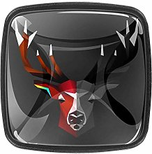 Deer Animals 4pcs Colorful Crystal Glass Cupboard
