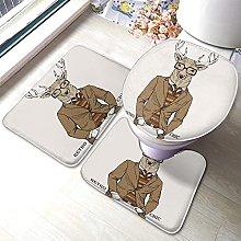 Deer Bathmat,Fashion Deer With Glasses Dressed In