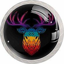 Deer Head Colorful 4pcs Glass Cupboard Wardrobe