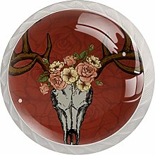 Deer Skull with Flower 4 Pack Round Glass Drawer