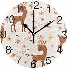 Deer with Flower Arrows Round Wall Clock, Silent