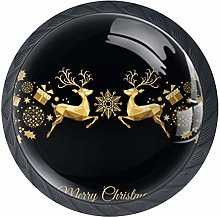 deerBlack Crystal Glass Round Cabinet knob with
