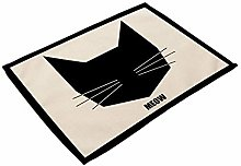 Deirdre Agnes Black Cat Printed Cotton Linen