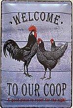 Deko7 Tin Sign 30 x 20 cm Chicken Farm Welcome to