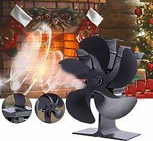 Delaspe Fireplace Fan 5 Blade Silent Heat Powered