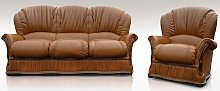 Delaware 3 Seater + Armchair Genuine Italian Tan