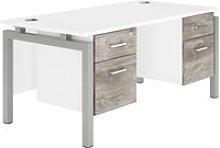 Delgado Bench Leg Double Pedestal Desk (Platinum