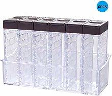 Deliu 6PCS Transparent Spice Jar Set Salt and