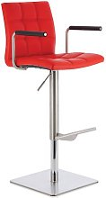 Deloris Bar Stool In Red Faux Leather And