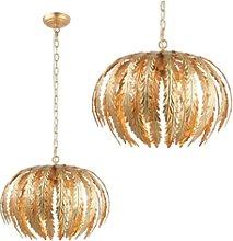 Delphine Pendant Light with Gold Leaf Design Shade