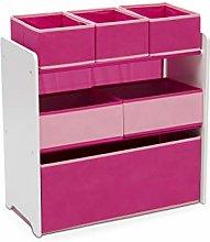 Delta Children Pink 6 Bin Storage Toy Organiser