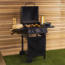 Deluxe Auto Ignition 2 Burner Gas BBQ Grill Steel