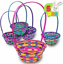 Deluxe Bamboo Easter Baskets 5 Pieces Multicolor
