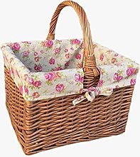 Deluxe Butchers Basket With Rose Lining Shopping
