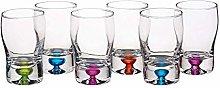 Deluxe Coloured Shot Glasses, Multi-Colour, Set of