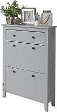 Deluxe Two Tier Shoe Cabinet - Grey