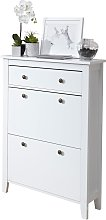 Deluxe Two Tier Shoe Cabinet - White