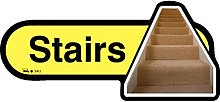 Dementia Friendly Stairs - Yellow Sign -400mm wide