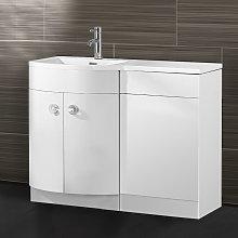Dene Bathroom D Shape White Basin Vanity WC Unit