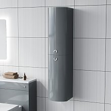 Dene Light Grey Tall Wall Hung Bathroom Cabinet