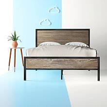 Denelle Metal and Wood Bed Frame Hashtag Home