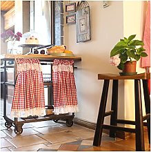 DENGS Red Plaid Tier Curtain Short Curtain, Cafe