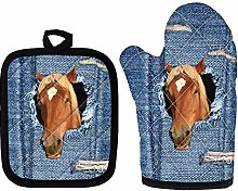 Denim Horse Long Oven Gloves, Heat Resistant