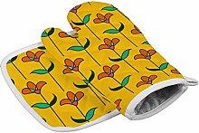 Deporsh Oven Gloves Mitts Floral Orange Oven Mitt