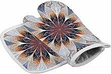 Deporsh Oven Mitts Gloves Fractal Flower Gray