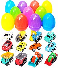 DERAYEE 12 Pack Easter Eggs Filled with Pull-Back