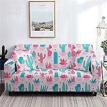 Desert Cactus Flower Green Pink Beige Stretch