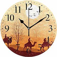 Desert Camel Wall Clock Battery Operated Acrylic