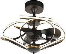 Design ceiling fan black with remote control incl.